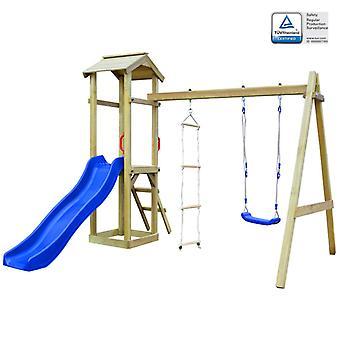 vidaXL tour de jeu avec toboggan, échelles & Balançoire 242×237×218 cm bois
