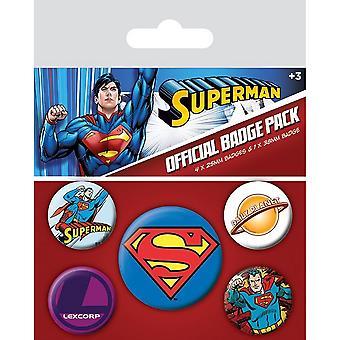 Superman badge sett (pakke med 5)