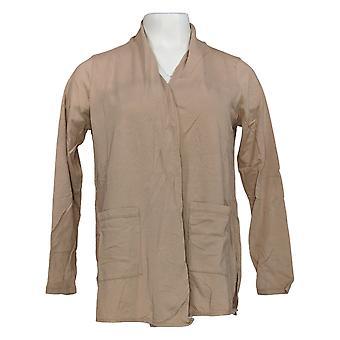 LOGO Par Lori Goldstein Women's Sweater Open Cardigan Pockets Brown A345358