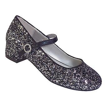 Jenter svart og sølv glitter heeled sko