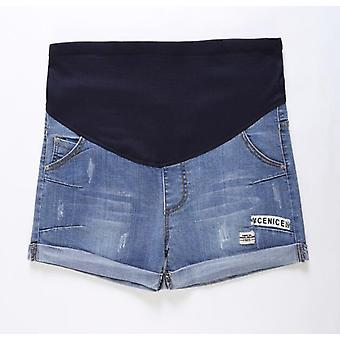 Women Maternity Denim Short -adjustable Elastic Pants