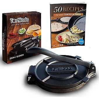 """Tortillada – Premium Cast Iron Tortilla Press + E-Book""""50 Tortilla Recipes"""" (25cm)"""
