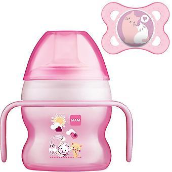 Mam starter cup rosa 150ml med handtag och lugnare