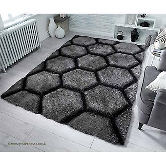 Honingraat houtskool tapijt