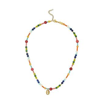 GEMSHINE necklace with 925 silver gilded Kauri shell and gemstones
