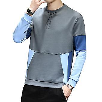 Yangfan hombres's bloque de color suéter de cuello redondo