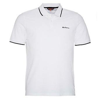 Ben Sherman Mens Tipped Pique Polo T-Shirt Short Sleeve Top White 0062105