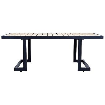 Charles Bentley Polywood and Extrusion Aluminium Coffee Table 120 x 60cm Garden Black Industrial Modern