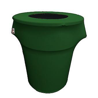 La Linen Stretch Spandex Trash Can Cover 55-Gallon Round,Emerald Green