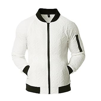 Allthemen Men's Cotton Embossed Hoodless Tops Collarless Jacket