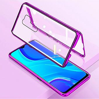 Stuff Certified® Xiaomi Poco X3 Pro Magnetic 360 ° Case with Tempered Glass - Full Body Cover Case + Screen Protector Purple