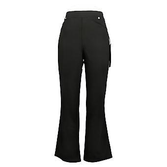 DG2 Af Diane Gilman Women's Petite Pants Ponte Boot Cut Black 732054