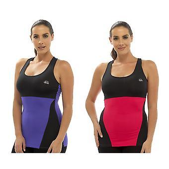 Tom Franks 2Pk Ladies Two Tone Sport Gym Top Fashion Vest Sml-Pink-Purple