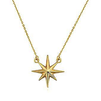 """10K gul guld Nordstjernen vedhæng halskæde, 18"""""""