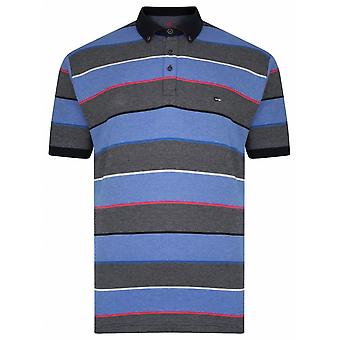 PETER GRIBBY Peter Gribby Mens Big Size Stripe Cotton Pique Soft Handle Polo Navy