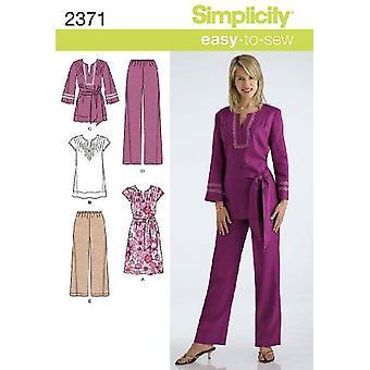 シンプルな縫製パターン2371ミスチュニックパンツドレスサイズ20W-28W