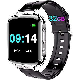 Digitales Diktiergert Armband, 32GB Mini Aufnahmegert Stimmenaktivierung - 384 Stunden|24 Stunden