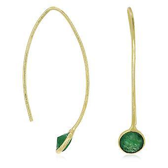 Gouden oorbellen versierd met groene aventurine