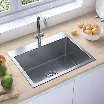 vidaXL Handmade built-in sink with tap hole stainless steel