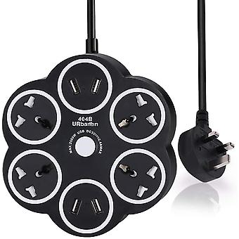 Gerui Black 5M Extension lead with USB Slots Surge Protector, 4 Gang Power Strips with 4-Port USB