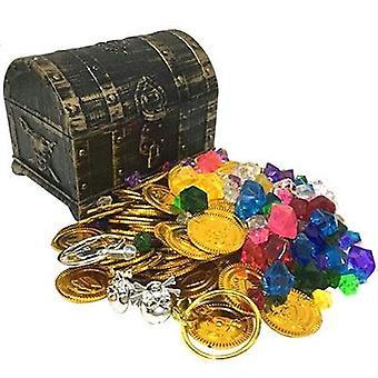 Пластиковые золотые сокровища Монеты Капитан партии Пиратский сундук сокровища, Детская игрушка