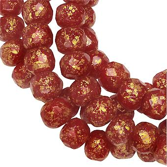 Czech Glass Beads, Faceted Rondelle 3x5mm, Red Opaline, Antique Gold Finish, 1 Strand, by Raven's Journey