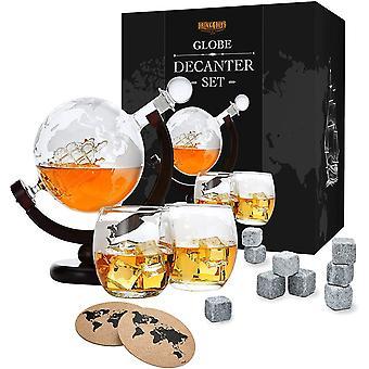 HanFei Whiskey Dekanter Set - Globus Karaffe aus Glas 850ml - 2 Whisky Gläser Set mit 9