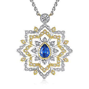 GemShadow Women 925 Sterling Silver CZ Drop Necklace and 925, Color: Sapphire Blue, cod. AQEN000028