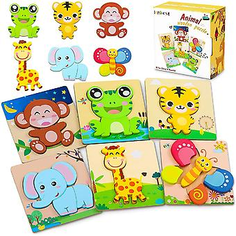 FengChun Wooden Puzzles, 6 Pack Animal Wooden Jigsaw Puzzles Set Educational Montessori Children