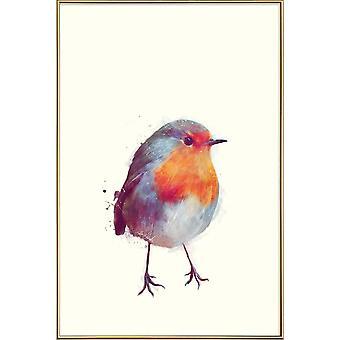 JUNIQE Print - Winter Robin - Birds Poster in Blue & Cream White