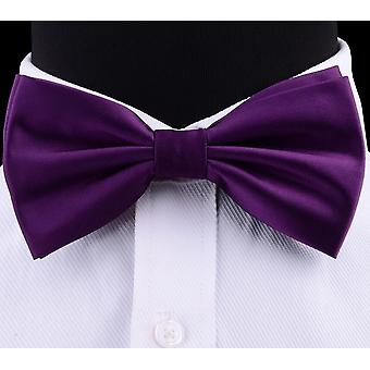 Gusleson Silk Solid Pre-tied Bow Tie Violet Noir Jaune