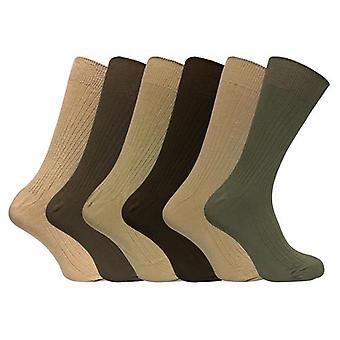 6 pk menn ribbet pustende 100% bomull sokker