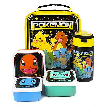 Pokemon Lunchtas | 5-delige schooldinertas, BPA-gratis waterfles en 3 snackpotten | Pikachu Bulbasaur Squirtle Charmander Containers One Size