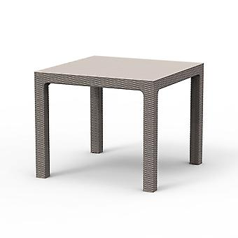 Rattan Effect Square Outdoor Dining Table - Weatherproof Garden Patio Furniture