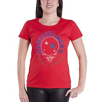Grateful Dead T Shirt Space Your Face Logo new Official Womens Skinny Fit Red