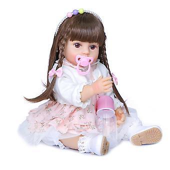 55Cm لينة كل سيليكون الجسم الأصلي الأصلي أصيلة مصممة تولد من جديد طفلة لونين الشعر الطويل دمية مصنوعة يدويا