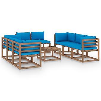 vidaXL 9 pezzi. Set da salotto da giardino con cuscino azzurro