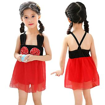 Girl's swimsuit summer one-piece red
