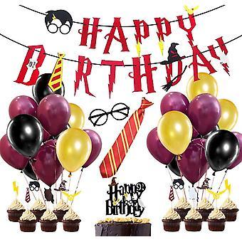 58 Stück Wizard Birthday Party Dekorationsset, Happy Birthday Banner, Wizard Ballons & Gläser,