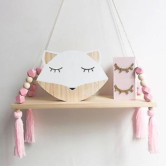 (Pink) Cute Woodedd Storage Rope Swing Wall Hanging Shelf Shelves Holder Room Home Decor