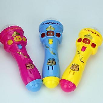 Mini leuke knipperende projector, microfoon speelgoed, verlichting, gloeiend, draadloze muziek