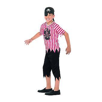 Jolly Pirate Boy Kostüm, Rot & Weiß (Groß)