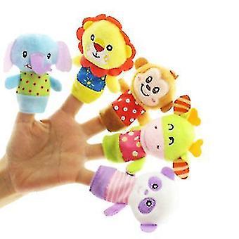 5pcs bonecas de dedos pai-filho, brinquedos de pelúcia reconfortantes para bebês