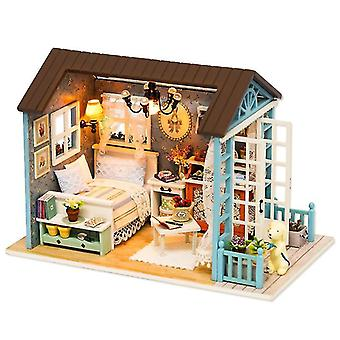 Cutebee doll house miniature diy dollhouse with furnitures wooden house casa toys for children