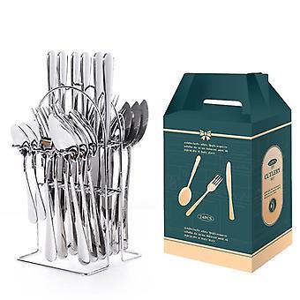 24pcs Tableware Set Stainless Steel Western Food Tablewares Fork Knife Spoon