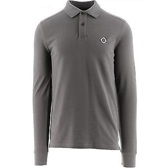 MA.STRUM Grey Long Sleeve Pique Polo Shirt