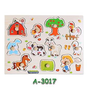 Hot baby learning toys for children montessori hand grab board early educational toy cartoon vehicle/ animal wooden puzzle kids