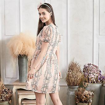 Plissierte Puffärmel Floral Fit & Flare Kleid