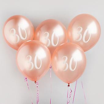 30 milepæl Birthday Party bobler i Rose Gold x5