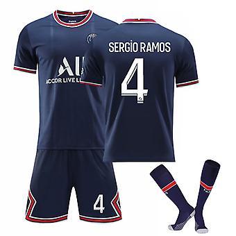 Sergio Ramos #4 Jersey Home 2021-2022 Új szezon férfi párizsi foci pólók Jersey Set